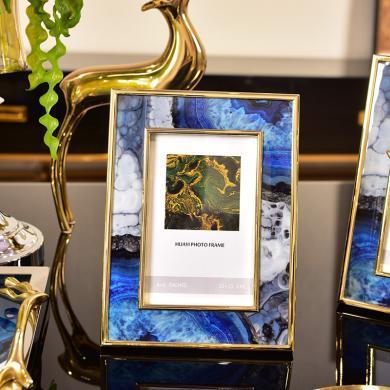 DEVY歐式玻璃擺臺美式家居客廳電視床頭柜臥室6寸7寸樣板房相片框