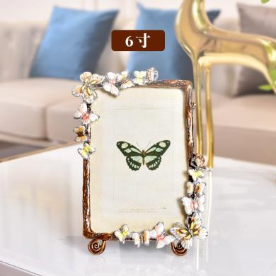 DEVY  欧式创意蝴蝶金属相框摆台6寸7寸小清新卧室送闺蜜生日礼物