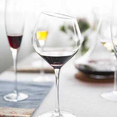 摩登主婦創意斜口水晶玻璃紅酒杯勃艮第酒杯香檳杯高腳杯