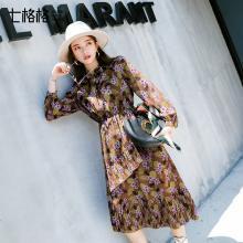新品 七格格 雪纺裙子中长款秋装女2018新款法式少女长裙复古长袖连衣裙