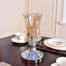 DEVY歐式玻璃花瓶擺件美式客廳餐桌家居電視柜裝飾品仿真花插花器