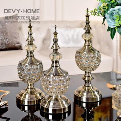 DEVY欧式客厅装饰品玻璃摆件美式创意家居餐桌茶几玄关工艺品摆设