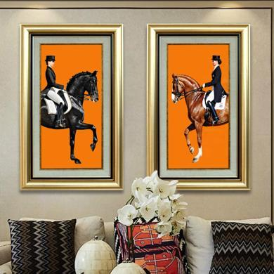 DEVY 歐式輕奢馬玄關裝飾畫美式客廳壁畫走廊單幅掛畫客餐廳壁畫