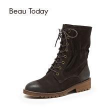BT 短靴女春秋马丁靴英伦风中筒皮女靴休闲短靴02203