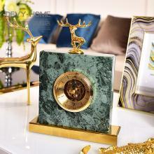 DEVY欧式客厅大理石台钟座钟装饰品家居卧室床头静音时钟桌面摆件