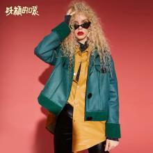 妖精的口袋Y冬季绿色时尚棉服女潮冬装2018新款短款棉女欧货上衣R