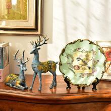 墨菲 美式乡村复古陶瓷摆盘 欧式客厅玄关电视柜软装饰品麋鹿摆件