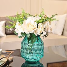 DEVY 簡約現代手工圓點玻璃水培花瓶 客廳擺件仿真干花鮮花插花器