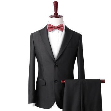 艾梵之家 秋季男士西裝新郎結婚禮服修身正裝黑色提花西服套裝男EVXF21000