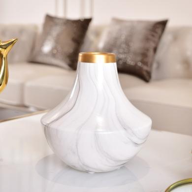 墨菲现代简约创意花瓶陶瓷花插大理石纹客厅餐桌电视柜装饰品摆件