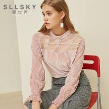 熙世界粉紅色燈芯絨上衣女2018秋裝新款拼接蕾絲長袖上衣117LS073