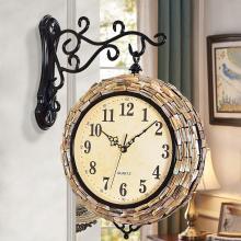DEVY 歐式創意雙面掛鐘客廳時鐘靜音鐘表美式兩面壁鐘石英鐘掛表