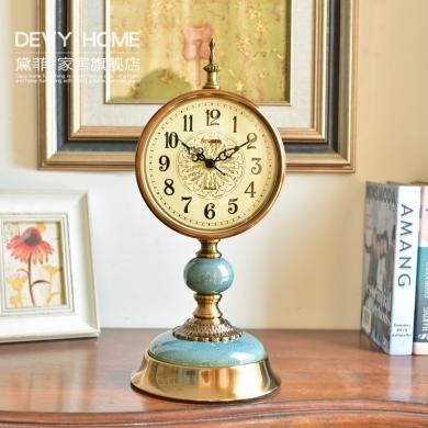 DEVY 歐式古典座鐘臺鐘擺件 美式復古創意家居臥室床頭柜鐘表裝飾