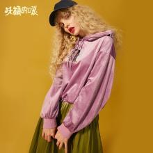妖精的口袋Y連帽衛衣bf外套潮原宿風女秋裝2018新款寬松套頭上衣J