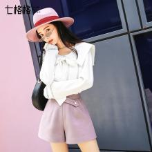 新品 七格格 長袖T恤女2018冬季新款寬松韓版娃娃領鏤空洋氣純色上衣潮