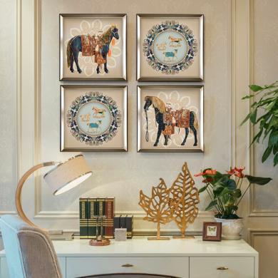 DEVY 美式輕奢客廳裝飾馬三聯掛畫 歐式復古餐廳沙發背景墻裝飾畫