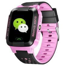 柏族 儿童电话手表 男女学生手机大彩屏触摸定位电话智能手表(粉色)