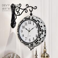 DEVY歐式石英鐘表現代簡約創意靜音時鐘客廳雙面掛鐘家居墻壁裝飾