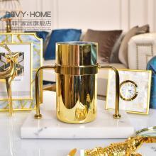 DEVY 欧式创意家居样板房大理石花瓶摆件现代客厅玄关装饰品摆设