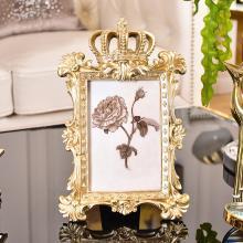 DEVY 欧式创意浮雕金色相框树脂摆台6寸像框 美式复古皇冠相片框
