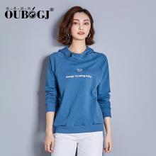 OUBOGJ 蓝色卫衣女连帽长袖套头衫秋装新款韩版宽松女装t恤潮18C10071