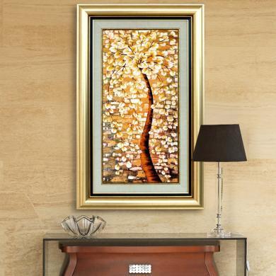 墨菲 歐式客廳玄關書房裝飾畫 美式家居樣板間有框畫壁畫發財樹