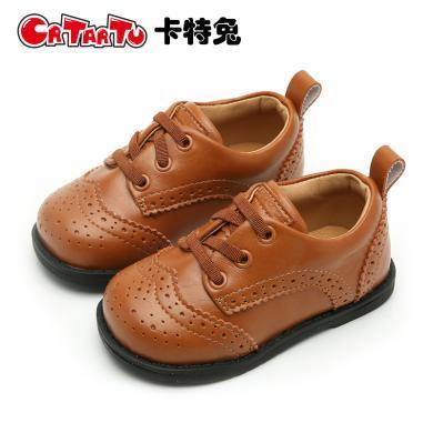 卡特兔女童皮鞋2018新款男童韓版女寶寶小皮鞋英倫風軟底公主鞋子