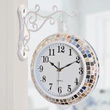 墨菲 欧式客厅双面静音挂钟 现代简约时尚创意美式艺术个性钟表