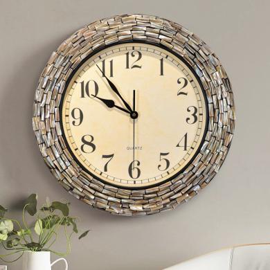 DEVY歐式創意貝殼石英靜音鐘表美式現代輕奢大氣立體時鐘客廳掛鐘
