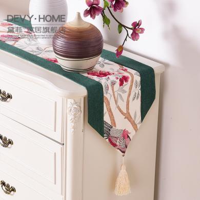 DEVY 新中式古典花鳥桌旗桌墊創意樣板間餐桌布藝電視柜茶幾布