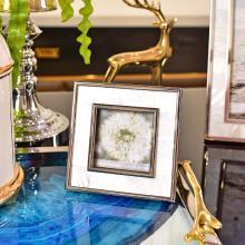 DEVY歐式美式樣板間擺臺相框6寸7寸貝殼加金屬裝飾現代軟裝飾擺件