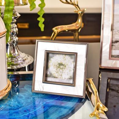 DEVY欧式美式样板间摆台相框6寸7寸贝壳加金属装饰现代软装饰摆件