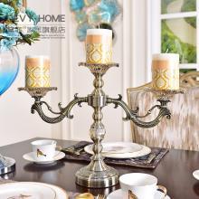 DEVY欧式烛台烛光晚餐道具浪漫摆件美式家居古典金属玻璃三头烛台