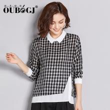 OUBOGJ 假两件衬衫女格子长袖秋装新款韩版潮宽松衬衣个性女装18C10029