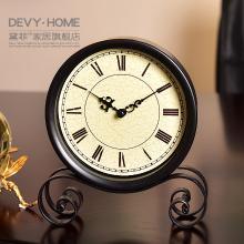 DEVY 美式復古鐵藝座鐘擺件 簡約家居客廳桌面臺鐘座鐘裝飾品擺設