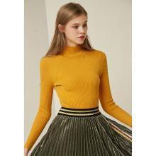 熙世界半高领毛衣女2018秋新款修身长袖打底针织衫姜黄色117LA109