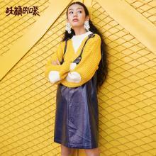 妖精的口袋Y吊带无袖v领短裙秋装2018新款韩版紫色背带连衣裙女J