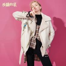 妖精的口袋Y加厚通勤机车服韩版冬装2018新款时尚中长款仿皮草女R
