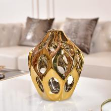 DEVY 歐式輕奢家居裝飾花瓶 現代客廳餐桌電鍍陶瓷擺件干花插花器
