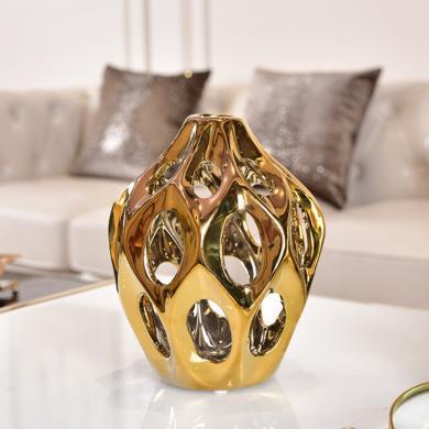 DEVY 欧式轻奢家居装饰花瓶 现代客厅餐桌电镀陶瓷摆件干花插花器