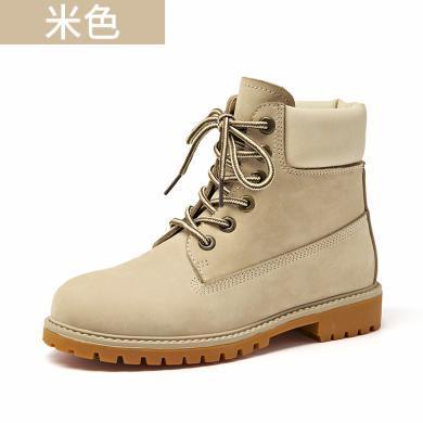 BEAU 秋冬新款馬丁靴女英倫風短靴女單靴子平底女鞋機車靴04203