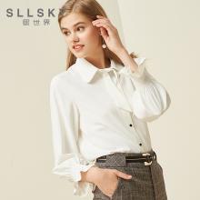 熙世界白色襯衫女2018秋裝新款韓版喇叭袖職業OL襯衣上衣117LC063