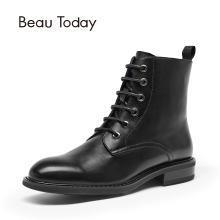 BT 马丁靴女秋冬?#23621;?#20262;风短靴平底皮短筒靴子女03098