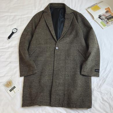 墨麥客 男士風衣冬季韓版寬松中長款披風外套毛呢子大衣男潮流帥氣青少年