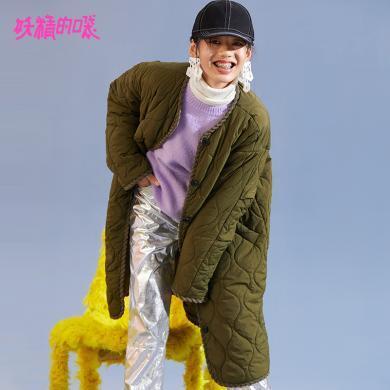 妖精的口袋Y通勤棉服面包服冬裝2018新款軍綠色原宿風長款棉衣女R