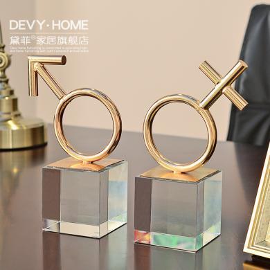 DEVY歐式家居客廳酒柜裝飾品擺件現代創意簡約水晶工藝品結婚禮物