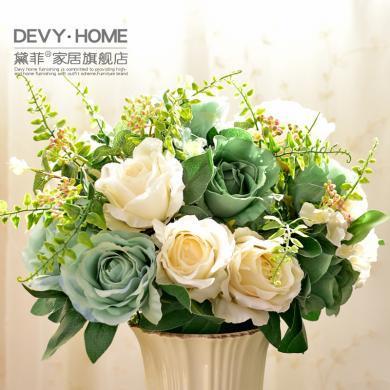 DEVY 歐式仿真花 假花客廳擺件簡約現代創意裝飾插花干花絹花藝