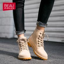 BEAU 秋冬新款机车马丁靴女英伦风短靴粗跟靴子平底单靴女04201