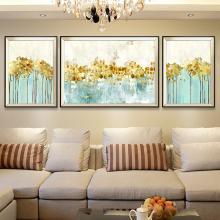 DEVY欧式抽象沙发背景墙客厅三联装饰画美式样板房玄关壁画金叶子