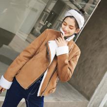 新品 七格格 仿羊羔毛外套女短款秋装女2018新款潮加厚夹克仿皮草大衣冬